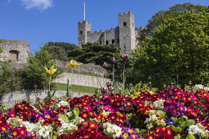 罗切斯特城堡在肯特,英国 库存照片