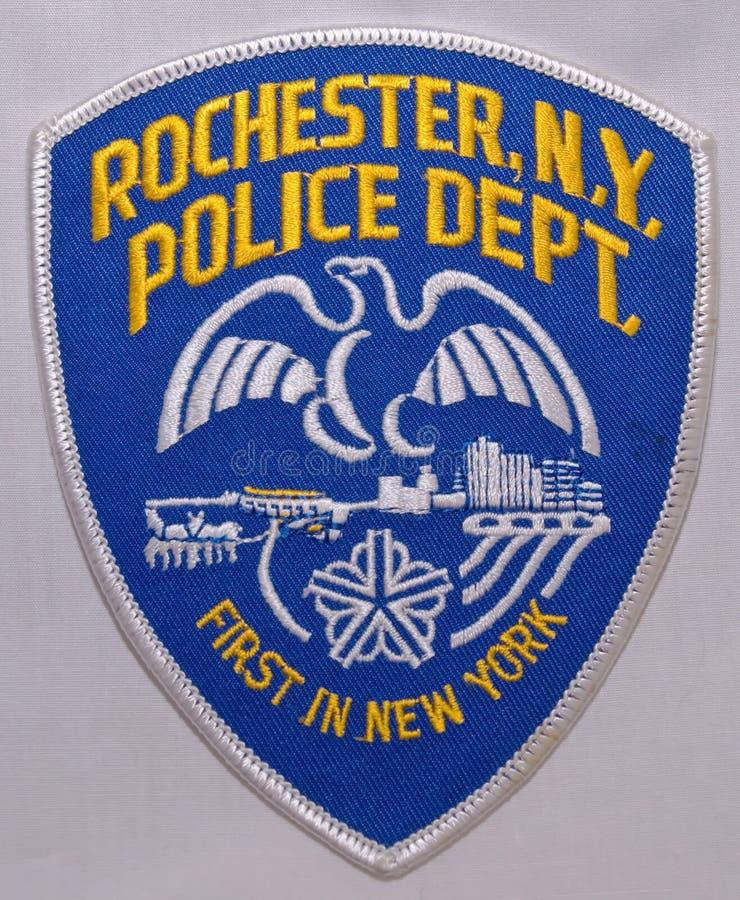 罗切斯特警察局的肩章在纽约 库存照片