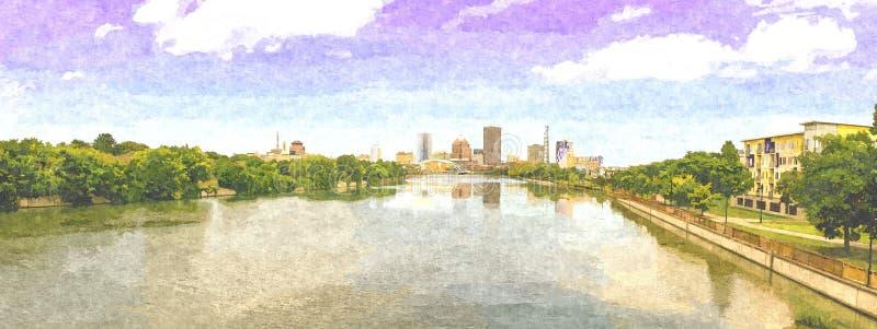 罗切斯特NY地平线,全景格式,油漆数字艺术品 免版税库存图片