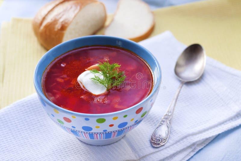 罗宋汤-传统乌克兰甜菜根和圆白菜汤 免版税图库摄影