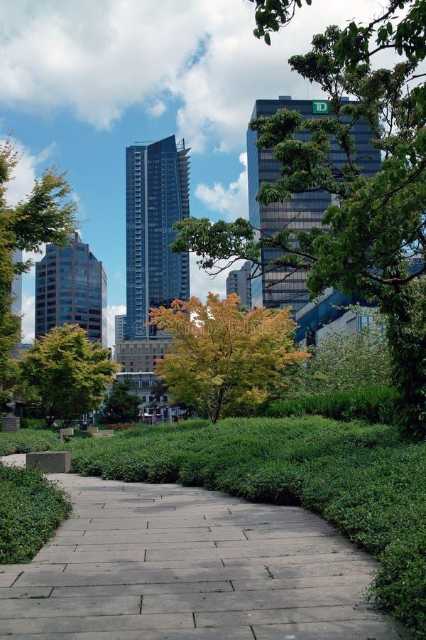 罗布森广场, BC温哥华,加拿大 免版税图库摄影