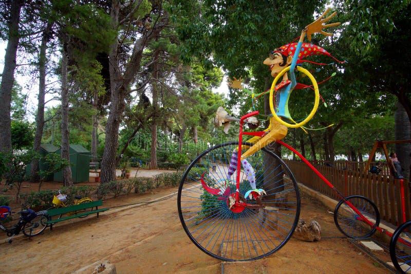 罗希姆诺,希腊,9月30日公园在有children'的罗希姆诺;s操场 库存照片