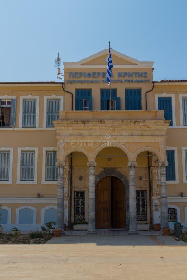 罗希姆诺,希腊- 2016年8月4日:专区的大厦 库存照片