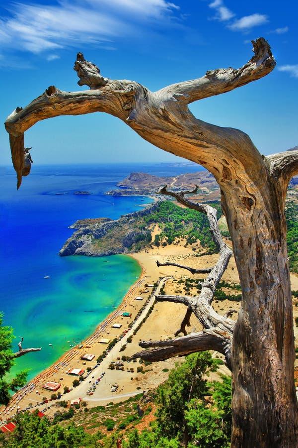罗得岛海岛, Tsambika海湾看法  免版税库存照片