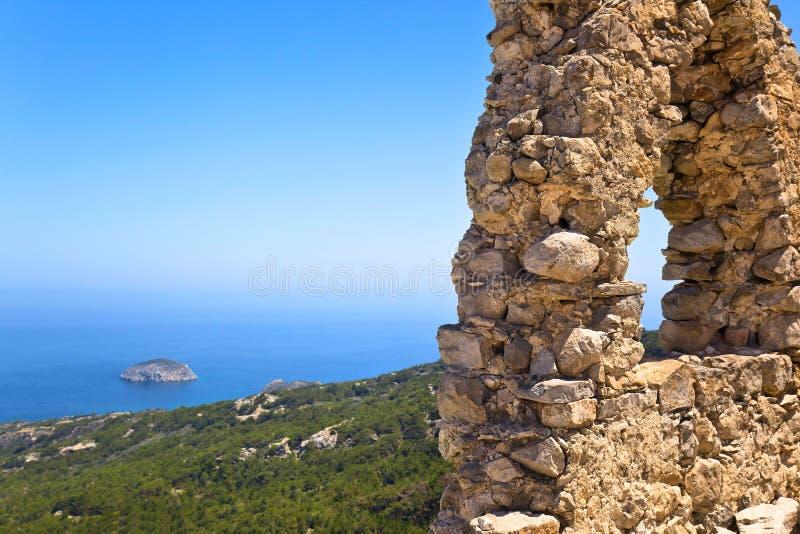 罗得岛,希腊, Monolithos城堡 图库摄影