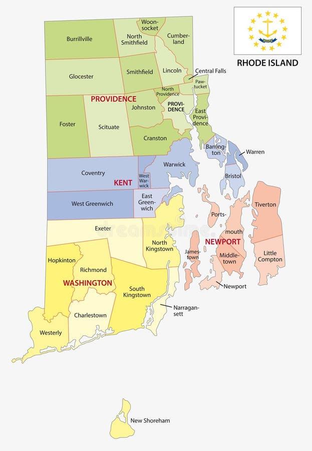 罗德岛县和市导航与旗子的地图 皇族释放例证