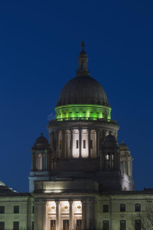 罗德岛州黄昏的状态国会大厦,上帝,罗德岛州 图库摄影