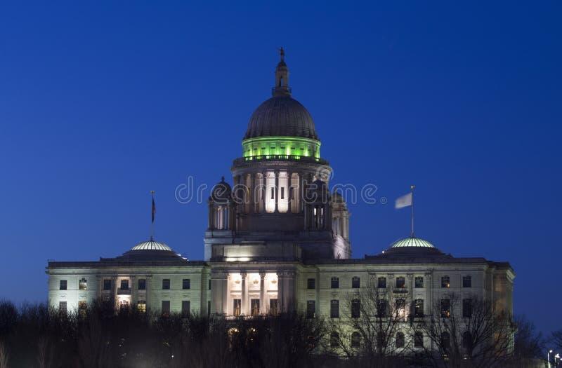 罗德岛州黄昏的状态国会大厦,上帝,罗德岛州 库存照片