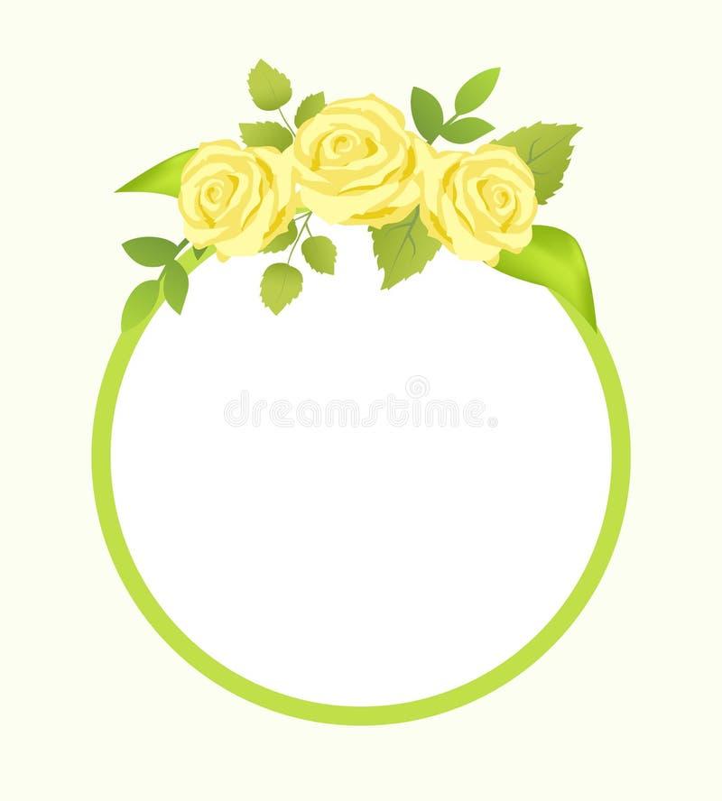 罗斯与绿色叶子,照片框架的黄色花 库存例证