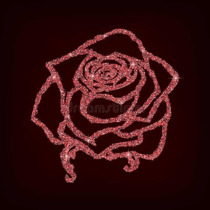 罗斯剪影 花设计闪烁概述 也corel凹道例证向量 典雅的花卉概述设计 在黑backg隔绝的红色标志 库存例证