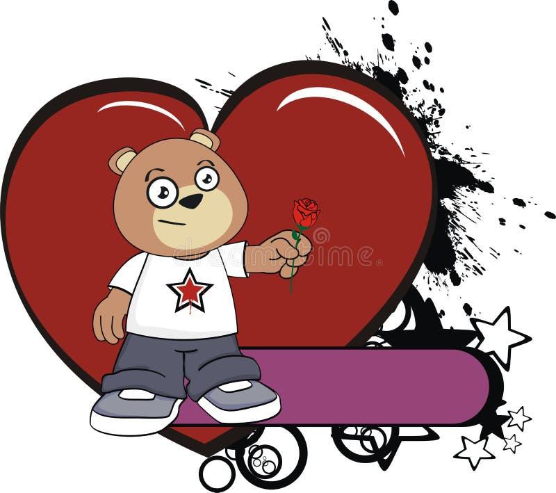 罗斯可爱的玩具熊动画片贴纸 皇族释放例证