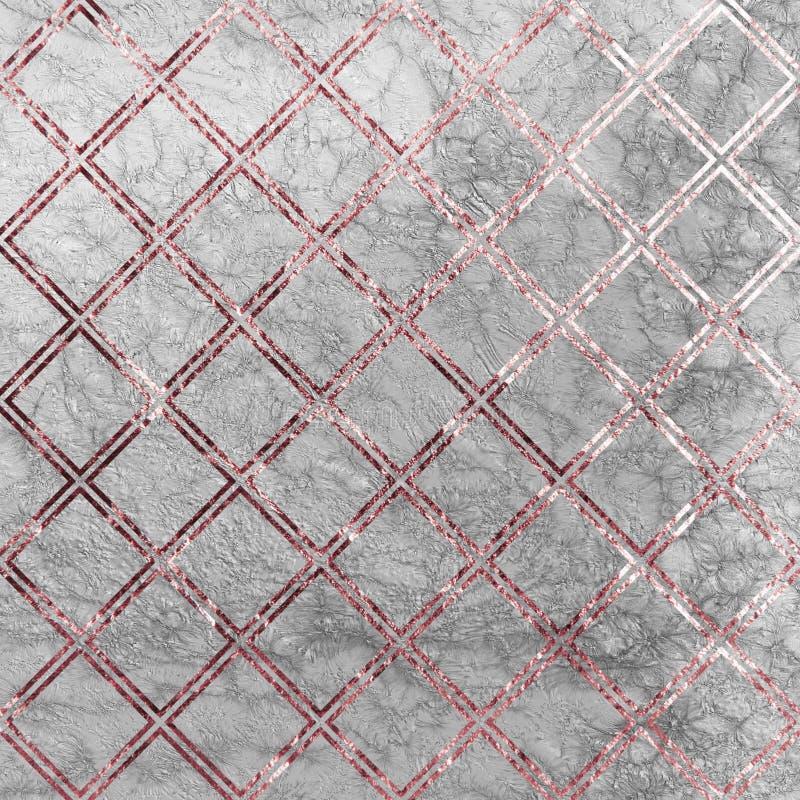 罗斯在大理石背景的金正方形 罗斯金子纹理 罗斯金正方形大理石样式 罗斯金大理石墙纸 库存例证