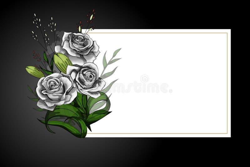 罗斯在白色框架的花花束与黑边界严密的明信片模板 皇族释放例证