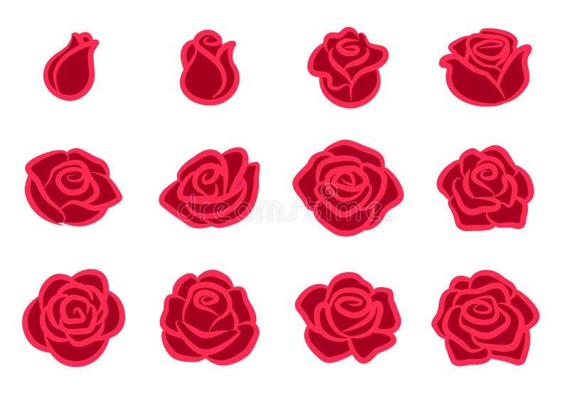 罗斯开花象集合 简单的红色玫瑰色花设计元素为情人节,爱,自然,从事园艺的题材 向量例证
