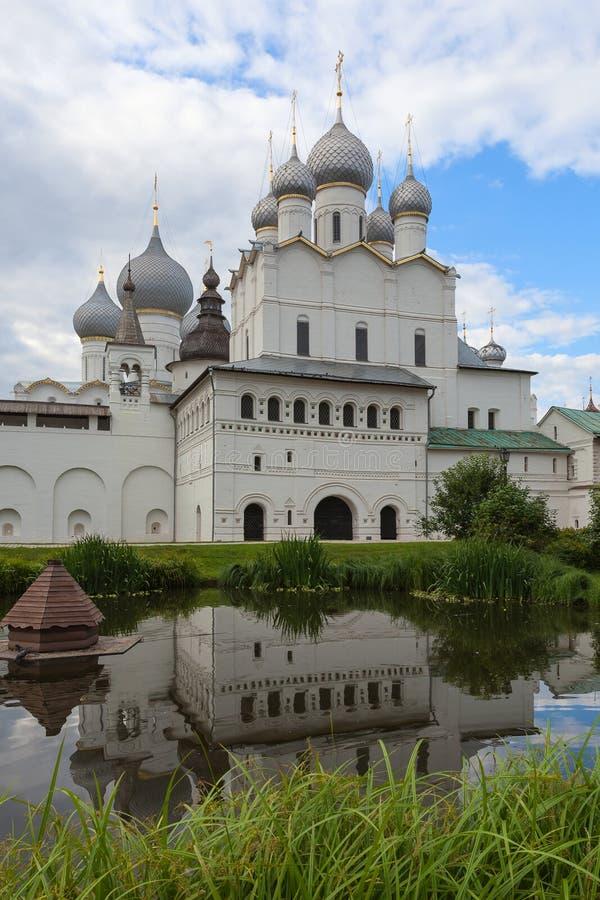 罗斯托夫克里姆林宫,雅罗斯拉夫尔市地区,鲁斯的内在庭院 库存图片
