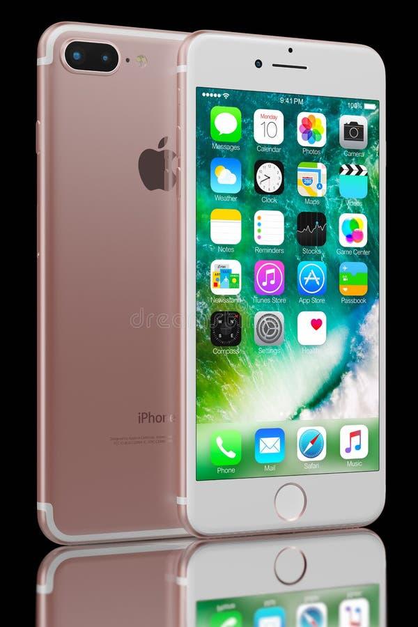 罗斯正金子iPhone 7 免版税库存图片