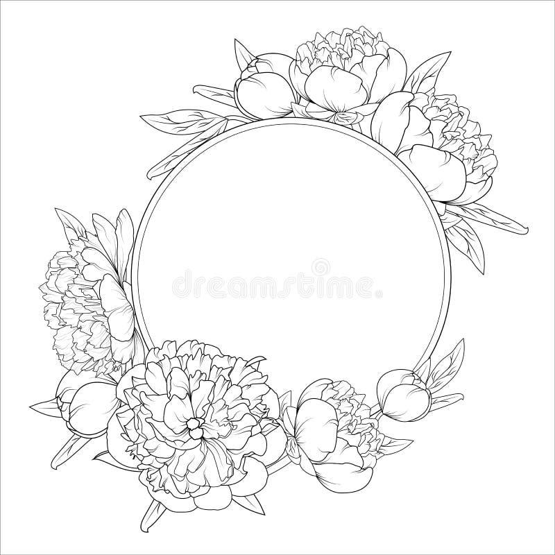 罗斯牡丹花roung花圈框架模板 库存例证