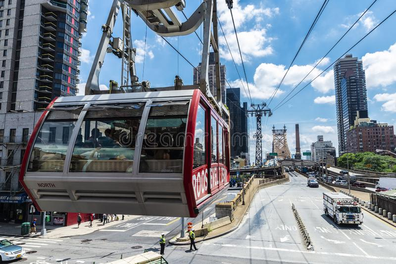 罗斯福岛空中缆车在纽约,美国 库存照片