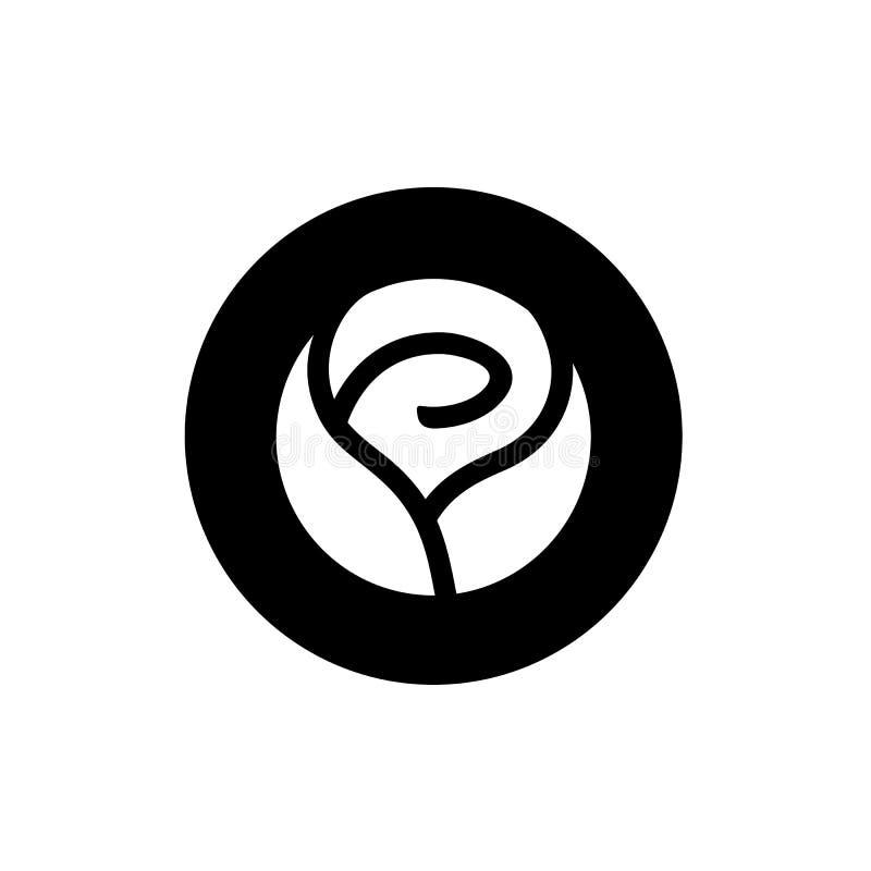 罗斯花和圈子形状商标设计、信件O和罗斯商标,象概念传染媒介例证 向量例证