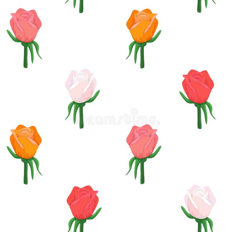 罗斯花开花五颜六色的样式 皇族释放例证