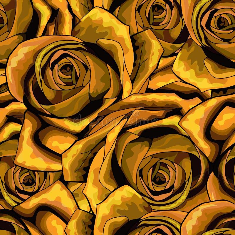 罗斯花无缝的样式背景纹理 适用于打印纺织品 皇族释放例证