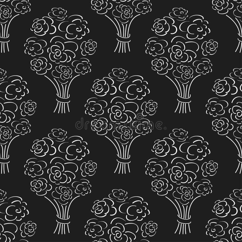 罗斯花束无缝的样式 手拉的概述黑色背景 花剪影墙纸 库存例证