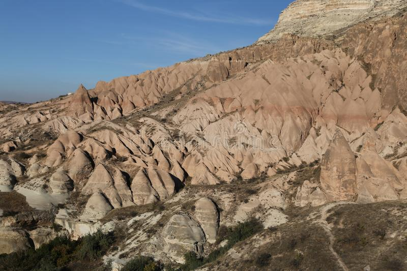 罗斯谷在Cavusin村庄,卡帕多细亚,内夫谢希尔省,土耳其 库存照片
