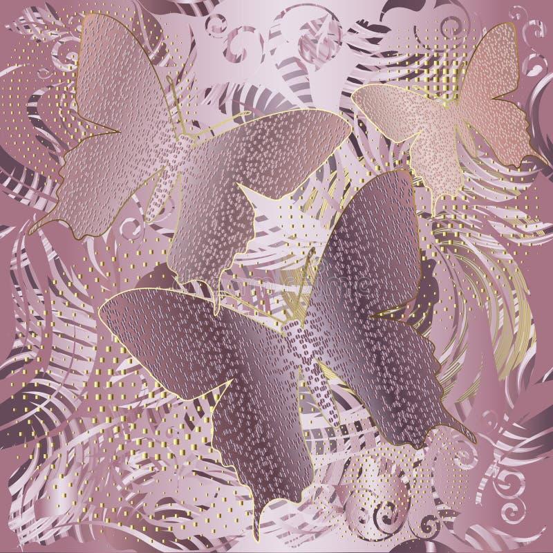 罗斯金子 传染媒介被构造的3d蝴蝶无缝的样式 丝绸难看的东西纹理 抽象现代装饰品 镶边装饰物 向量例证
