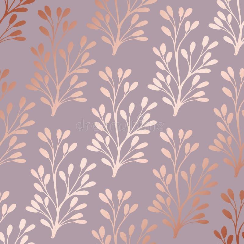 罗斯金子 打印的典雅的装饰花卉样式 皇族释放例证