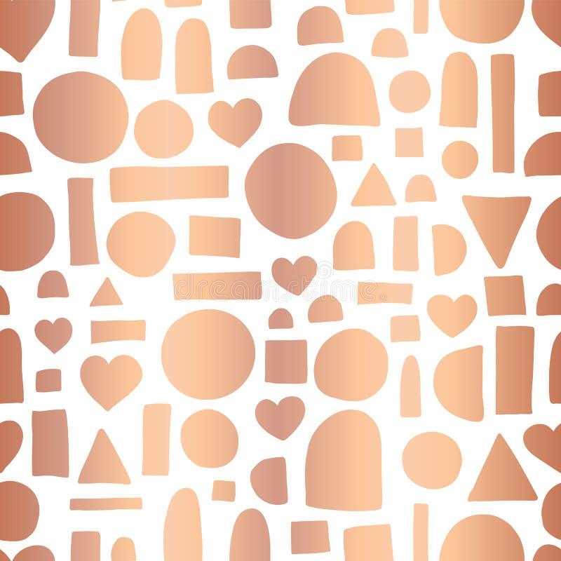 罗斯金箔几何乱画形状无缝的传染媒介样式 手拉的发光的金属铜心脏,圈子,长方形摘要 库存例证