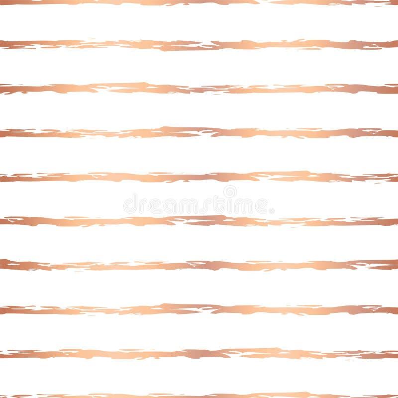 罗斯金箔手拉的刷子冲程水平线无缝的传染媒介样式 在白色背景的铜不规则的条纹 库存例证