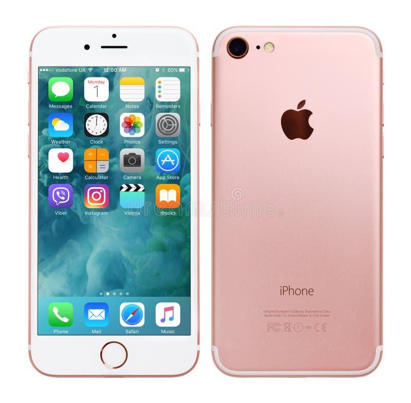 罗斯金苹果计算机iPhone 7 免版税库存照片