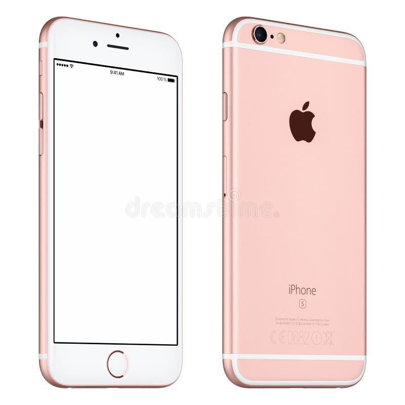 罗斯金苹果计算机iPhone 6S大模型有一点转动了正面图 免版税库存照片