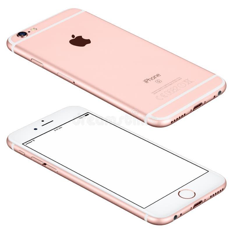 罗斯金苹果计算机iPhone 6s大模型说谎表面上 免版税库存图片