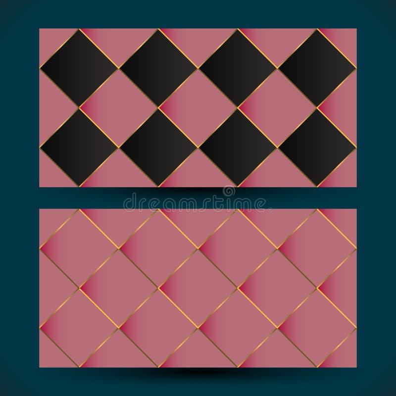 罗斯金马赛克几何抽象背景 在玫瑰色金子和黑色的现代马赛克墙纸 向量例证