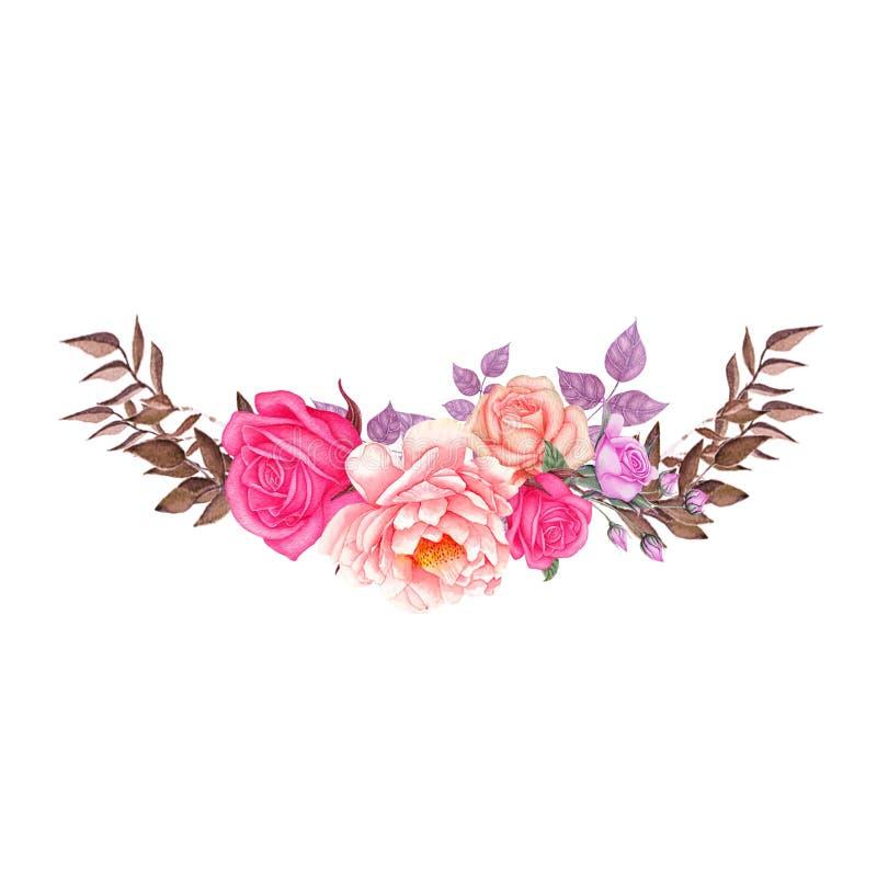 罗斯,叶子婚礼水彩花圈,花束,花卉框架,花的布置装饰,手画 皇族释放例证