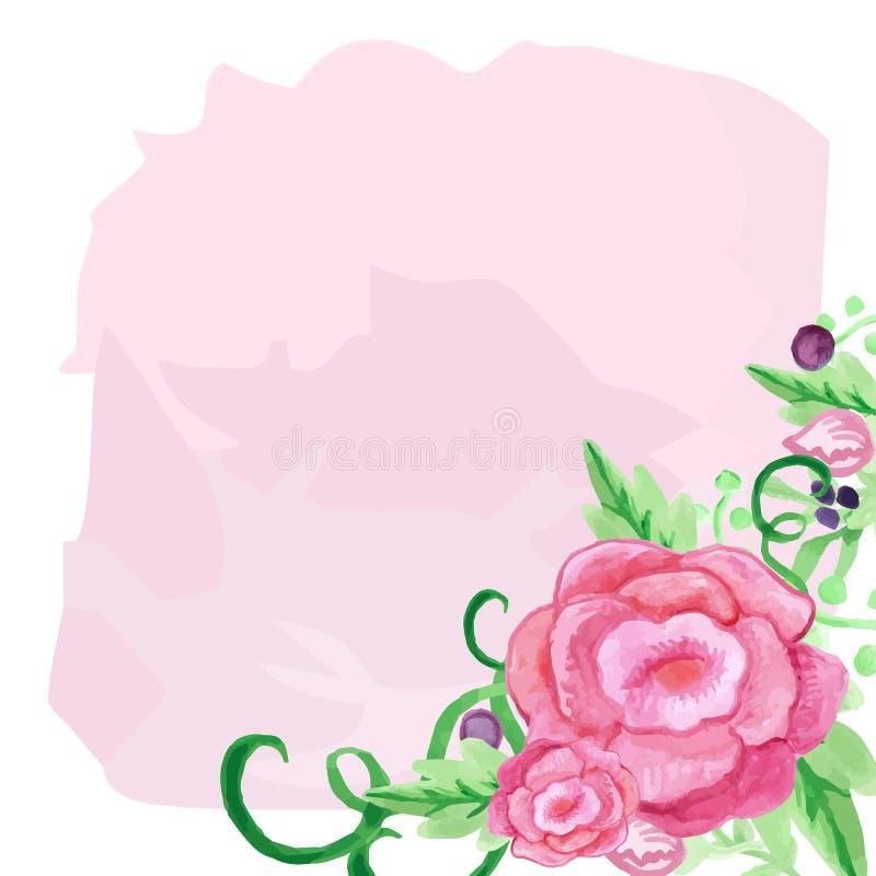 罗斯水彩花和叶子花束在角落 问候的模板,邀请庆祝卡片 向量例证