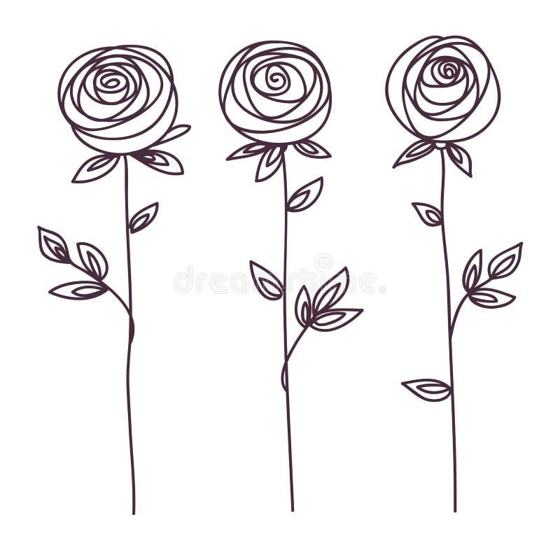 罗斯 风格化花标志 概述手图画象 皇族释放例证