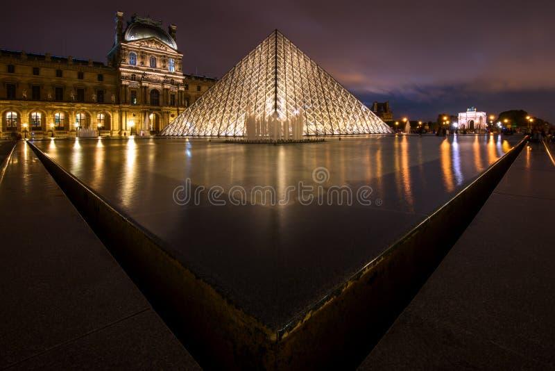 罗浮宫在晚上在巴黎,法国 库存照片