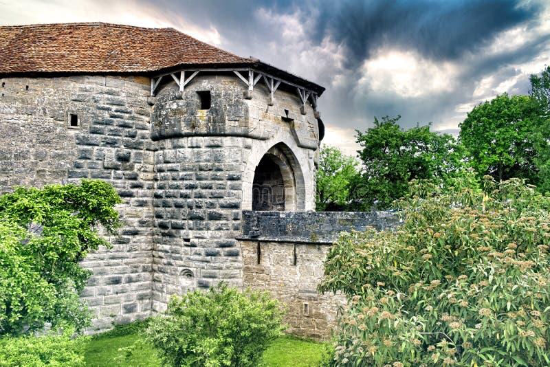 罗滕堡中城的城堡入口 库存照片