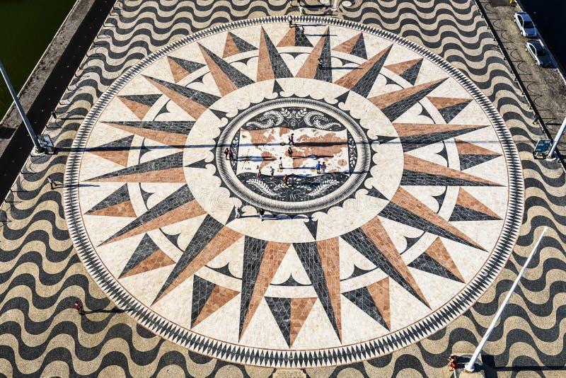罗盘广场在里斯本,葡萄牙 免版税库存照片