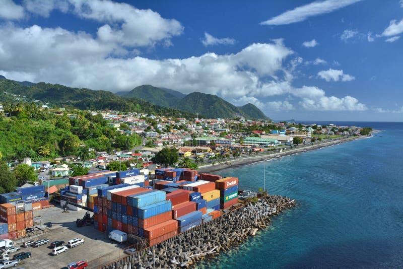 罗索在多米尼加海岛,加勒比上的市口岸 库存图片