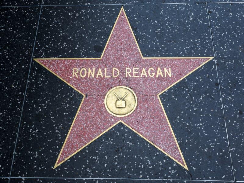 罗纳德・里根` s星,好莱坞星光大道- 2017年8月11日, -好莱坞大道,洛杉矶,加利福尼亚,加州 免版税库存照片