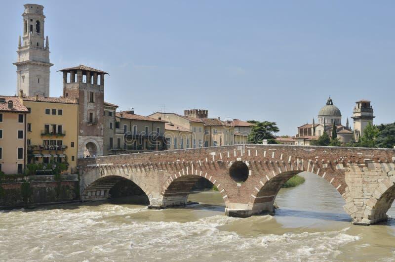 维罗纳石桥梁  库存照片