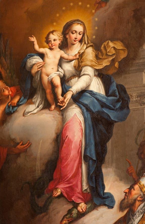 维罗纳-圣洁玛丽细节从Maffei教堂的在中央寺院阿戈斯蒂诺Ugolini从年1794 免版税库存照片