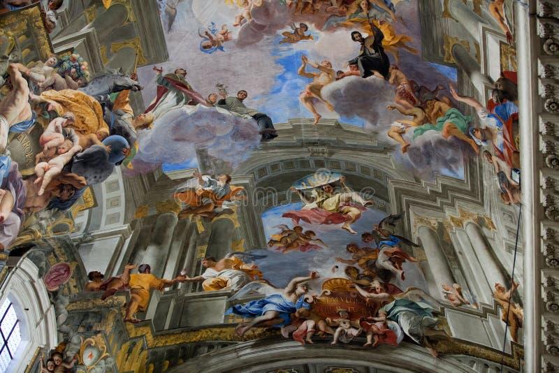 罗耀拉圣伊格纳罗教会圆顶。罗马, 免版税库存图片