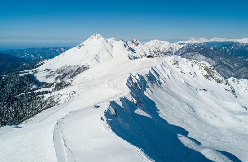 罗莎Khutor滑雪胜地视图 免版税库存图片