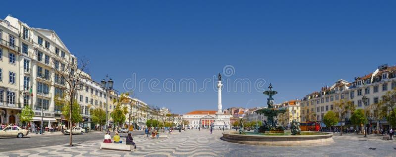 罗西乌广场里斯本唐佩德罗IV 免版税图库摄影