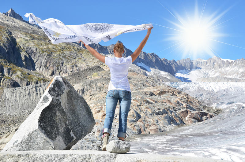 罗讷冰川。瑞士 图库摄影