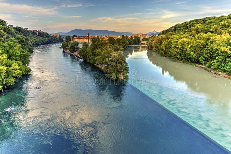 罗讷和阿尔沃河河合流,日内瓦 免版税库存图片